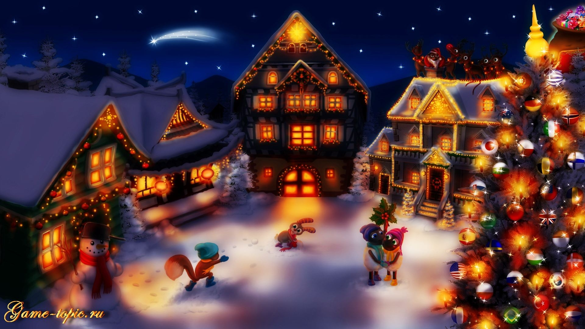 Christmas village wallpaper widescreen
